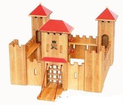 handmade wooden toy castle